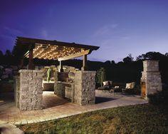 Pillars made with Celtik Wall pavers by Belgard