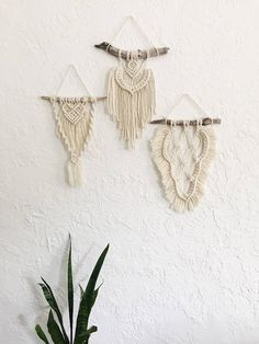 Set of 3 Tiny macrame wall hangings/ Modern macrame/ Boho