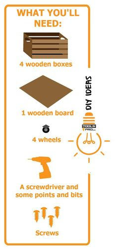 Build Your Own Wooden Table: It will only take you an hour to build a #recycled wooden #table for your home with a Makita Hammer Drill and some wooden boxes. Here are the steps to follow. All you need is some wooden boxes, a wooden board, screws and wheels! The result: an original, easy-to-make wooden table to enjoy with #friends and family. #Diy   #ideas     #inspiration   #homeimprovement  #recycling #upcycle http://uk.tools4pro.com