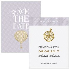 Vintage Travel Save The Date Card