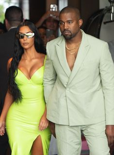 The rapper appeared to have two outfit changes throughout the evening where guests Kim Kardashian and Kanye West enjoyed a night out with their newlywed friends. Neon Dresses, Neon Outfits, Summer Outfits, Fashion Outfits, Kanye West, Kim And Kanye, Kim Kardashian And Kanye, Kim Kardashian Costume, Kardashian Style