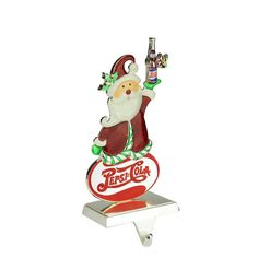 """9.75"""" Silver Plated Pepsi-Cola Santa Claus Christmas Stocking Holder with European Crystals"""