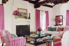 Can we say Pretty In Pink? A lovely space by Schuyler Samperton Interior Design.