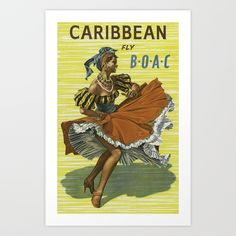 Caribbean Vintage Travel Poster Midcentury Colorful Art Art Print by enshape Wood Business Cards, Poster Prints, Art Prints, Mid Century Art, Custom Posters, Retro Art, Vintage Travel Posters, Caribbean, Dancing
