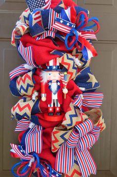 Patriotic Burlap Swag Wreath 4th of July by FestivalofWreaths, $83.00
