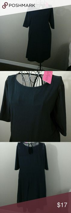 NWT black size 3x more like 1X. Read description Super cute very soft and stretchy black dress with mesh detail on the upper shoulders and on the back of the dress. The waist can stretch up to 42 inches and length from the top of the shoulder to the hemline is 36 inches. This is brand new with tags in excellent condition, fit and flare Style partial a line very slimming black and color size 3x but runs more like a 1Xl. This is why I have listed it as a 1x versus the 3x because it runs…