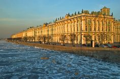 The famous Neva River in Saint Petersburg Russia, is surrounded by many magnificent structures.