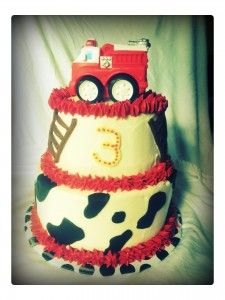 Firetruck Cake with Toy Truck!