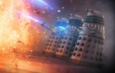 This scene was created as part of the cover art for the Big Finish Doctor Who story 'Masters of Earth'. The Daleks are CG, everything else is photo mani. Dalek scene from 'Masters of Earth' cover image Doctor Who Tv, Sci Fi Comics, Classic Sci Fi, Dalek, Nerd Geek, Dr Who, Fantasy World, Narnia, Cover Art