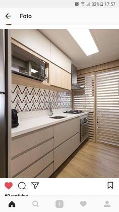 Image may contain: indoor Kitchen Interior, Kitchen Decor, Mini Loft, Small Apartment Design, Minimalist Living, Kitchen Layout, Sweet Home, New Homes, Decoration