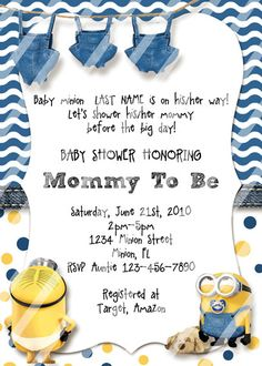 Minion Baby Shower Invitation Template Best Of Minion Baby Shower Invitations Cu. - Minion Baby Shower Invitation Template Best Of Minion Baby Shower Invitations Customize by - Baby Shower Diapers, Baby Shower Cards, Baby Shower Parties, Baby Shower Themes, Shower Party, Baby Showers, Shower Ideas, Minion Birthday Invitations, Baby Shower Invitations