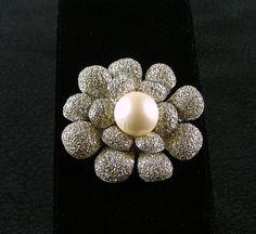 NETTIE ROSENSTEIN Flower Brooch with Faux Pearl by KatsCache, $249.95