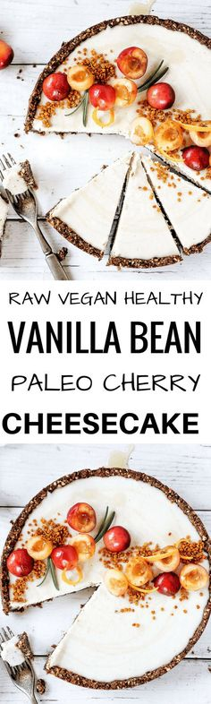 """Raw vanilla bean and cherry cheesecake made with paleo ingredients. Creamy cashew filling in a """"graham cracker"""" crust. Stores well in the fridge and freezer. Naturally gluten free and dairy free. Raw #paleo cheesecake. #Desserts Sherman Financial Group"""