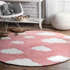 Viv + Rae Lily Cloudy Sachiko Hand-Tufted Pink Area Rug & Reviews | Wayfair Circular Rugs, Kids Area Rugs, Childrens Rugs, Polyester Rugs, Pink Clouds, Rugs Usa, Pink Rug, Buy Rugs, Fairy Houses