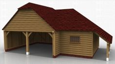 2 bay oak garage with seperate store accessed from inside garage. Logstore on right hand side. English Heritage, Garages, Home Projects, Gazebo, Barn, Outdoor Structures, Traditional, Garage Ideas, Store