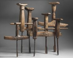 """Collection of Early Breast Augers (Sold) Various Hand Carved and Naturally Formed Timbers and Iron largest 31"""" high x 19.5"""" wide x 3"""" deep smallest 18 """" high x 13.75"""" wide x 2"""" deep Some Inscribed with Dates and Initials Swedish, c.1770 - c.1851"""