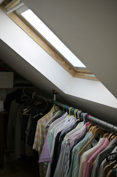 Brighton loft conversions carpenter, builder and specialist Velux window fitter. Builds all loft conversion personally himself to your specifications. Attic Wardrobe, Walk In Wardrobe, Maximize Small Space, Small Spaces, Loft Storage, Storage Spaces, Slanted Ceiling Bedroom, Brighton Sussex, Fitted Wardrobes