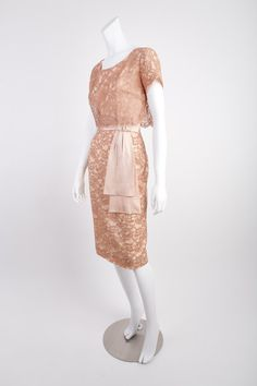 Vintage 1950s Lace and Satin Pale Pink Holiday Cocktail Evening Short Shift Dress