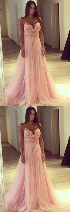 Elegant A-Line Sweetheart Pink Tulle Long Prom Dress With Lace P0959 #promdress #promdresses #hiprom #tulleprom #GraduationDress #2018 #PartyDress #pinkprom