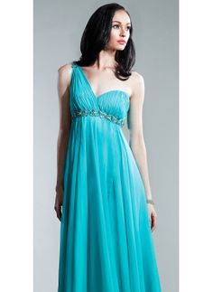 Tourquoise color with one shoulder! Matches one of the wedding dress options!
