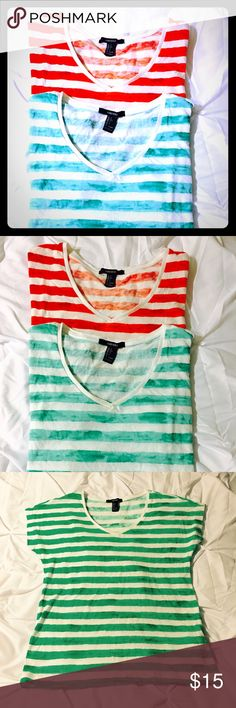 💕LAST CHANCE💕 FOREVER 21 TShirt Bundle SZ S Two fluffy-soft, adorable t-shirts by Forever 21 in perfect, NWOT condition!  One is green striped and the other is red striped...comfy 🤗🤗 Forever 21 Tops Tees - Short Sleeve