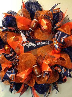 Baby Onesies Football Denver Broncos 52 Ideas For 2019 Mesh Ribbon Wreaths, Xmas Wreaths, Deco Mesh Wreaths, Burlap Wreaths, Broncos Wreath, Football Wreath, Denver Broncos, Wreath Crafts, Diy Wreath