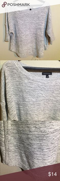"""Banana Republic Wide Neck Gray Sweater Nice Banana Republic sweater perfect for spring weather. It has gray and white mixed colors and a wide crewneck. The bottom hem curves down from the sides, making the front and back longer than the sides. Great condition. 24"""" from armpit to armpit and 23.5"""" at its longest. Sleeves are 17"""" long. Banana Republic Sweaters Crew & Scoop Necks"""