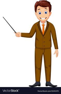 Cute teacher cartoon holding a pointer Royalty Free Vector