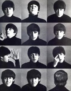 "Maybe Casual Headshots- black and white, not so quirky faces, but just good ""beatles"" rocky central image"