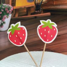 Strawberry Cake Topper Set for Kids Birthday Party Decoration Supplies Baby Shower Party Deco 6pcs/lot(China (Mainland))