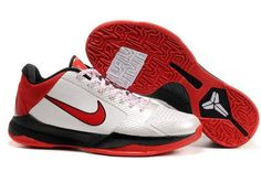 Ken Griffey Shoes Nike Zoom Kobe 5 White Varsity Red Black [Nike Zoom Kobe 5 - Sitting on a black midsole, the white uppers, that contain flywire, is accented with a red Nike swoosh outlined in black. The ankle collar is made of red mesh the exception Nike Shoes, Sneakers Nike, Nike Zoom Kobe, Nike Foamposite, Ken Griffey, Red Black, Black Nikes, Air Jordans, Nike Air