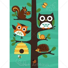 158M Modern Forest Animals in Tree 5 x 7 Print by leearthaus, $15.00