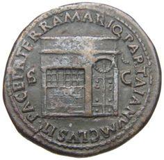 Sesterzio - bronzo - Roma (65 d.C. Nerone) - PACE PR TERRA MARIQ PARTA IANVM CLVSIT il tempio di Giano con porta chiusa e finestra con sbarre - Münzkabinett Berlin