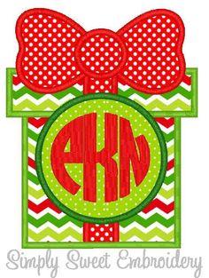 gift present monogram applique design - Christmas Applique Designs