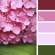 бордовый, зеленый, нежный розовый, оттенки розового, палитра цветов для свадьбы, розовый с оттенком фиолетового, тёмно-зелёный, цвет вина, цвет вишни, цвет гортензии, цвет зелени.