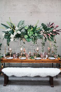 tropical wedding receptions - photo by Katt Willson http://ruffledblog.com/stylish-tropical-wedding-inspiration-in-the-pacific-northwest