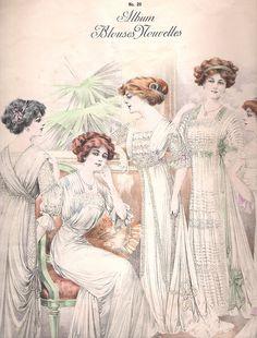 """""""Album Blouses Nouvelles No 29 Chic Parisien"""" April, 1910    https://www.artexperiencenyc.com/social_login/?utm_source=pinterest_medium=pins_content=pinterest_pins_campaign=pinterest_initial"""