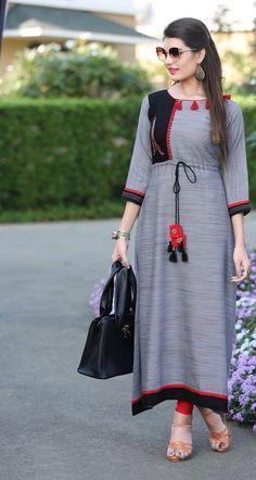 Stylish kurti neck designs for women - ArtsyCraftsyDad Kurti Neck Designs, Dress Neck Designs, Blouse Designs, Pakistani Dresses, Indian Dresses, Hijab Fashion, Fashion Dresses, Indian Designer Wear, Dress Collection