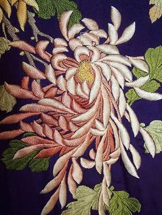 Antique Japanese Purple Silk Padded Satin Stitch Embroidery Chrysanthemum Kimono  Close up.