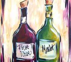 Eclipse de Luna - - Wine Bottles from Canvas By U . Wine Painting, Bottle Painting, Bottle Art, Canvas And Cocktails, Paint And Drink, Wine And Canvas, Wine Craft, Painted Wine Bottles, Art Party
