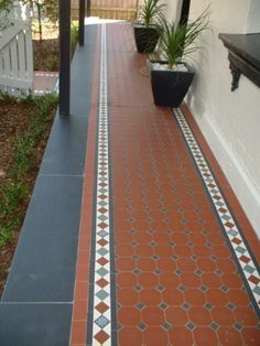 Edwardian Tiles - Red Octagon and Norwood Border with Slate Edge (Entrance Step Modern) Front Gardens, Terracotta Tiles, House With Porch, House Tiles, Garden Tiles, Terrace Tiles, Porch Tile, Patio Tiles, Rustic House