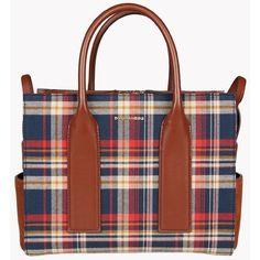 DSQUARED2 Twin Peaks Medium Handbag ($1,535) ❤ liked on Polyvore featuring bags, handbags, shoulder bags, dark blue, brown shoulder bag, plaid shoulder bag, plaid handbags, brown purse and woven handbag