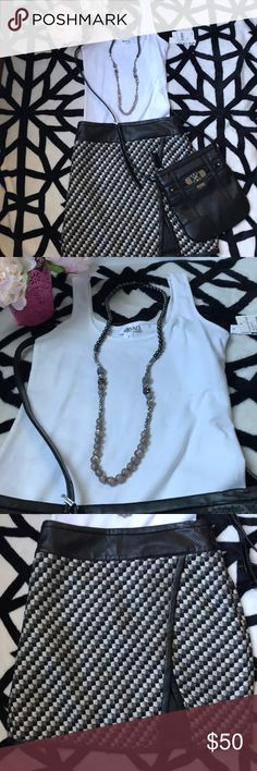 3 in 1 - GUESS bag, ANN TAYLOR skirt & ABOUND ATTENTION!!! 3 in 1  ⭐️White T-Shirt - ABOUND from Nordstrom Rack. Size S. New with tag ⭐️Elegant black leather mini skirt - ANN TAYLOR - size 6P Excellent conditions  ⭐️Black leather small handbag -GUESS - excellent condition  All for 48$!!! Ann Taylor Skirts Mini