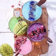 Start your day with Rainbow Smoothies @therawberry Shop our superfoods here: https://www.unicornsuperfoods.com/collections/all
