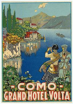 Vintage luggage label :: Como - Grand Hotel Volta, Italy