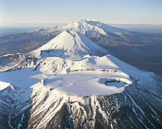 Mount Tongariro, Mount Ngauruhoe, and Mount Ruapehu in New Zealand's Tongariro National Park.