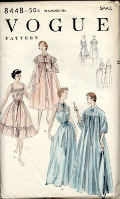 1954 Vogue Sewing Pattern 8448 Peignoir and Gown in Long or Short Length  Night Gown and Robe Honeymoon - Bust 30 - 32