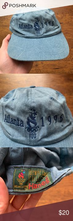 Vintage 90 s Olympic SnapBack Great Vintage Condition Atlanta 1996 Washed  Blue CW Check my other listings! I have different vintage 1980s 1990s Nike  Adidas ... c9b4e0625b8e