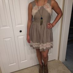 Free People Tan Dress Free People tan dress with cream lace detail. Free People Dresses