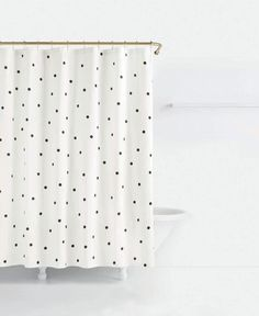 White And Black Polka Dot Fabric Shower Curtain Pinterest Modern Walls
